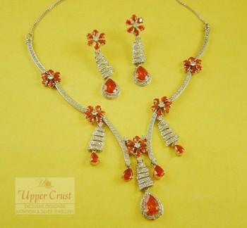 Multi CZ Bridal Collar Necklace Earring Jewellery