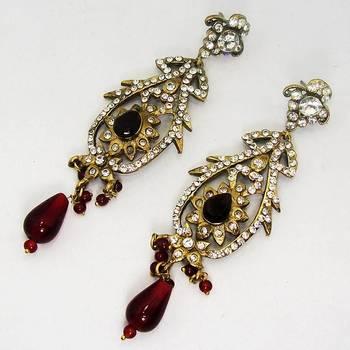 Victorian Earring Long Red Dangler