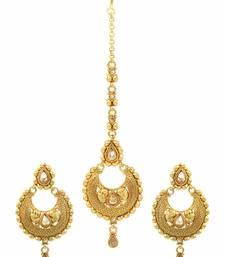 Buy Golden beige polki stones earrings with tika jewellery for women Earring online