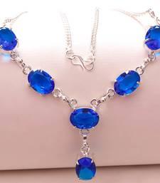 "Buy Blue sapphire gemstone 925 silver jewelry necklace 16-18"" gemstone-necklace online"