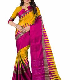Buy Gold printed cotton silk saree with blouse cotton-silk-saree online