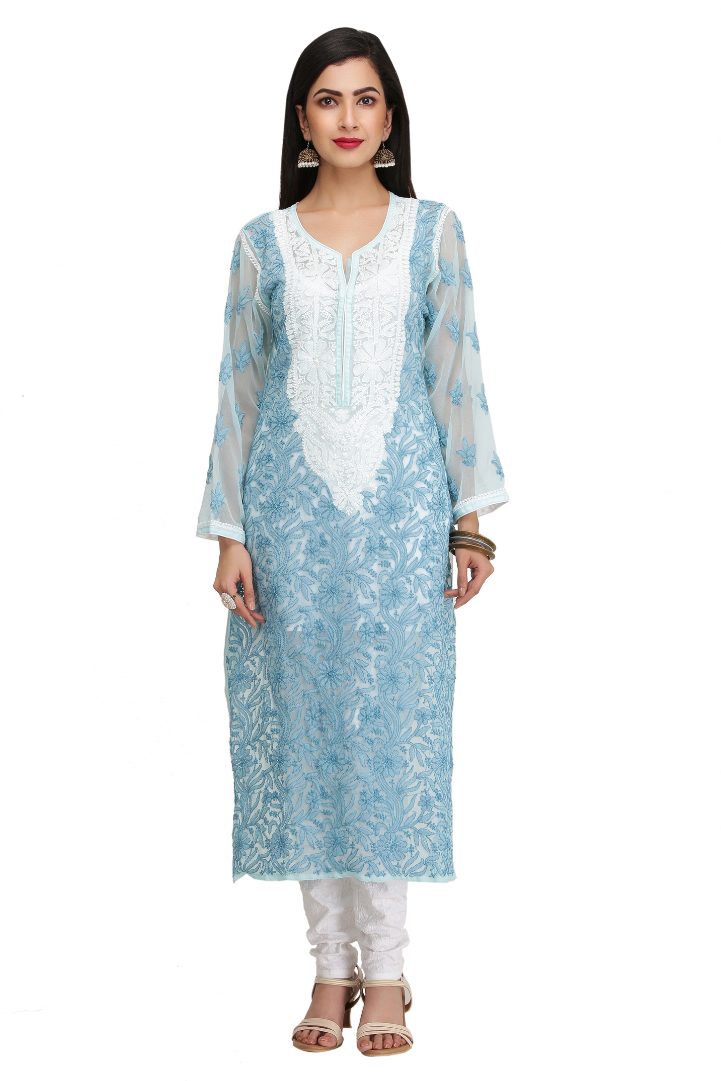 Chikankari Kurtis Online Shopping | Lucknow Chikan Embroidery Suits