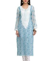 Buy Blue embroidered georgette chikankari-kurtis chikankari-kurtis online