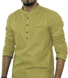 Buy Beige cotton solids mens wear kurta men-kurta online