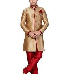 Buy Indian poshakh chikoo semi indo gichha silk kurta pajama kurta-pajama online