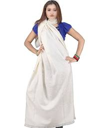 Buy Stylish Embroidery Pure Kashmiri Warm White Shawl shawl online