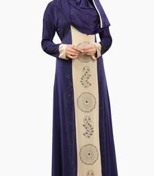 Buy Navy Blue Colour Stretchable Lycra Diamond Stone Work Straigth Style Burka burka online