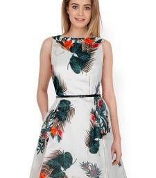 Buy Creame Straight Bhagalpuri Silk stitched dresses dress online