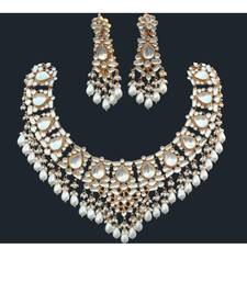 Buy Patchi Ahmedabadi Kundan necklace with earrings set necklace-set online
