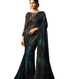 Buy Black plain georgette saree with blouse fancy-saree online
