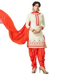 Buy Off-white embroidered cotton silk salwar with dupatta cotton-silk-suit online