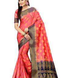 Buy Peach embroidered nylon saree with blouse faux-saree online