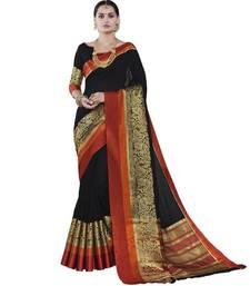 Buy Black woven cotton silk saree with blouse handloom-saree online