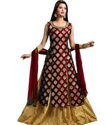 Buy Maroon embroidered silk salwar ethnic-suit online