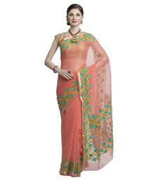 Buy Peach embroidered cotton saree with blouse kota-saree online
