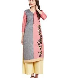Buy Grey embroidered linen stitched kurti kurtas-and-kurti online
