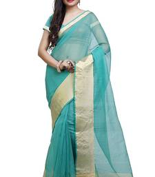 Buy Sea green plain cotton saree with blouse kota-saree online