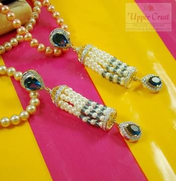 Pearl Iolite Blue Zircone Jhumki Jhumka Style Earrings