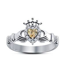Buy White Platinum Plating Heart & Round Shape Claddagh Ring 925-sterling-silver-ring online