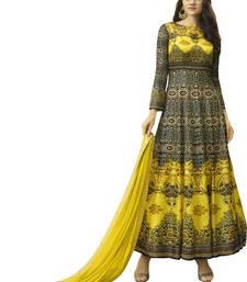 Buy Stylish Multi & Yellow Jersey Printed Gown Style Anarkali Suit jersey-salwar-kameez online