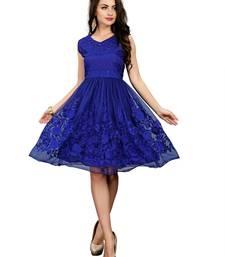 Buy Blue embroidered net party-wear-kurtis party-wear-kurtis online
