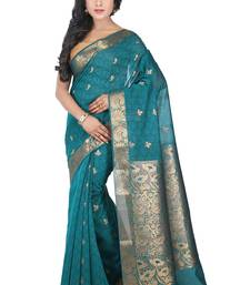 Buy Turquoise woven silk saree with blouse traditional-saree online