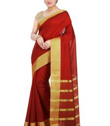 Buy Red woven silk saree with blouse traditional-saree online