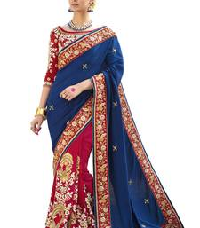 Buy Blue embroidered silk blend saree with blouse wedding-saree online