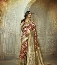 Buy Maroon woven pure andhra pradesh handloom saree with blouse party-wear-saree online