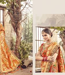 Buy Orange embroidered banarasi silk saree with blouse wedding-saree online
