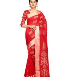 Buy Red woven silk blend saree with blouse handloom-saree online
