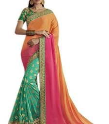 Buy Green embroidered south silk saree with blouse bangalore-silk-saree online