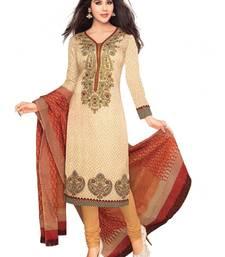 Buy Beige floral print cotton salwar crepe-salwar-suit online