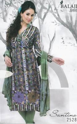 Cotton Dress Material with Chiffon Dupatta Unstitched Suit d.no 2528