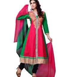 Buy Pink and Green Embroidered Cotton Semi-Stitched Anarkali Salwar Suit anarkali-salwar-kameez online
