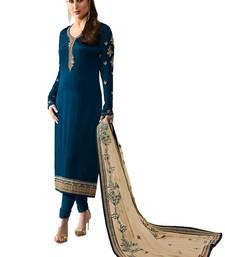 Buy Blue embroidered satin salwar festive-salwar-suit online
