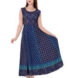Buy Indigo printed cotton kurtas-and-kurtis kurtas-and-kurtis online