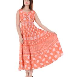 Buy Orange printed cotton kurtas-and-kurtis kurtas-and-kurti online