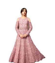 Buy Light-pink embroidered net salwar anarkali-salwar-kameez online