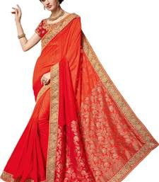 Buy Orange embroidered chiffon saree with blouse bridal-saree online