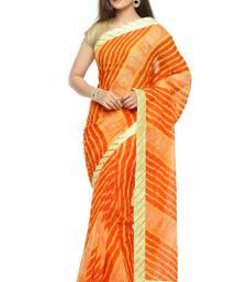 Buy Red printed chiffon saree with blouse leheriya-saree online
