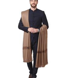Buy Beige Wool Embroidered Pashmina shawl shawl online
