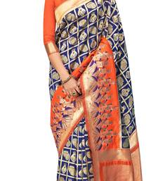 Buy Blue woven silk saree with blouse traditional-saree online