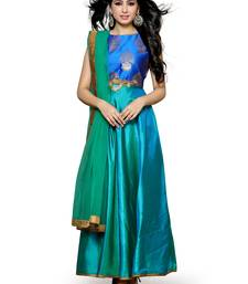 Buy Blue self design silk salwar anarkali-salwar-kameez online