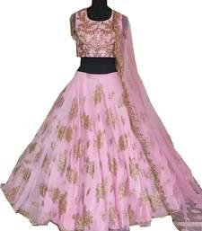 Buy Pink embroidered silk semi stitched lehenga ghagra-choli online