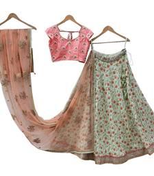 Buy Light sea green embroidered silk semi stitched lehenga lehenga-choli online