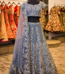 Buy Grey embroidered art silk unstitched lehenga bridal-lehenga online