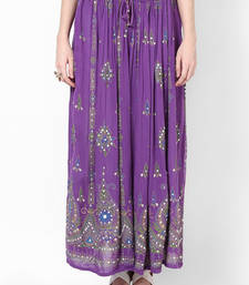 Buy Purple Embroidered Cotton Long Skirt plus-size-skirt online