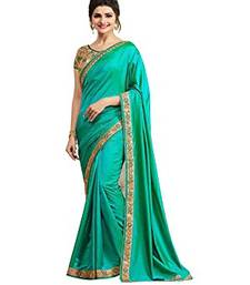 Buy Green embroidered art silk saree with blouse black-friday-deal-sale online