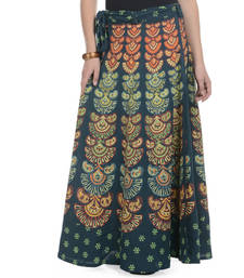 Buy Green Cotton Printed Wrap Around Long Skirt plus-size-skirt online